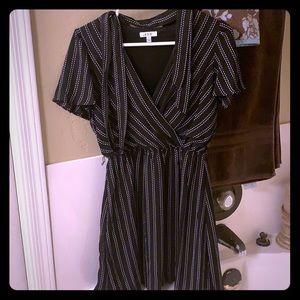 Short striped dress with waist belt